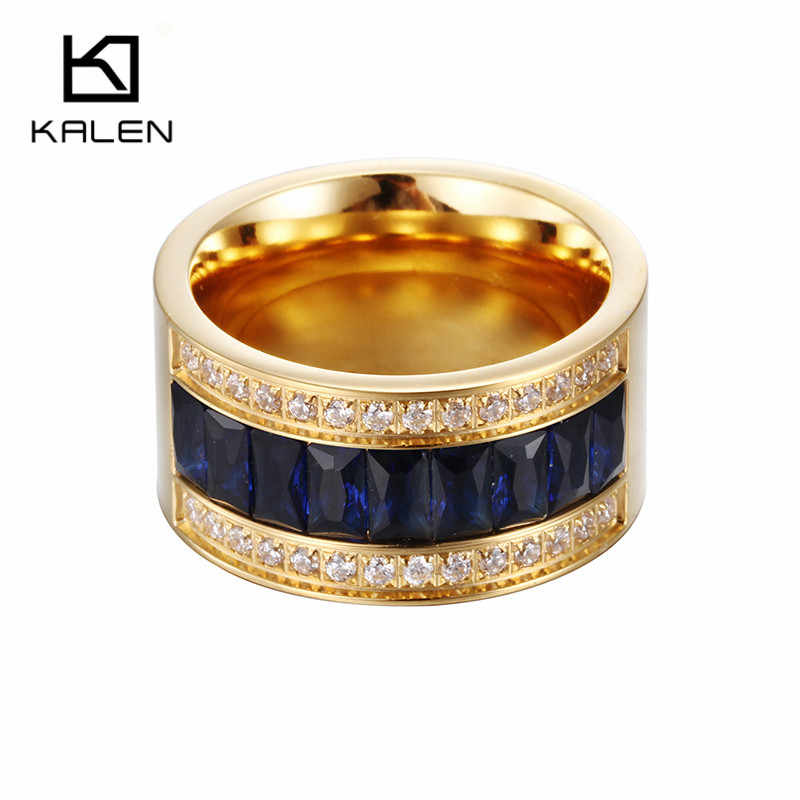 Kalen Bulgaria Gold Anillo Wedding Engagement Blue/White/Black Crystal Rings For Women Gift Stainless Steel Finger Rings Jewelry