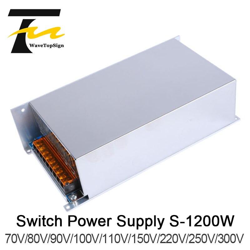WaveTopSign 1200 W DC tension régulée réglable haute puissance alimentation à découpage sortie VDC 70 V 80 V 110 V 150 V entrée AC220V