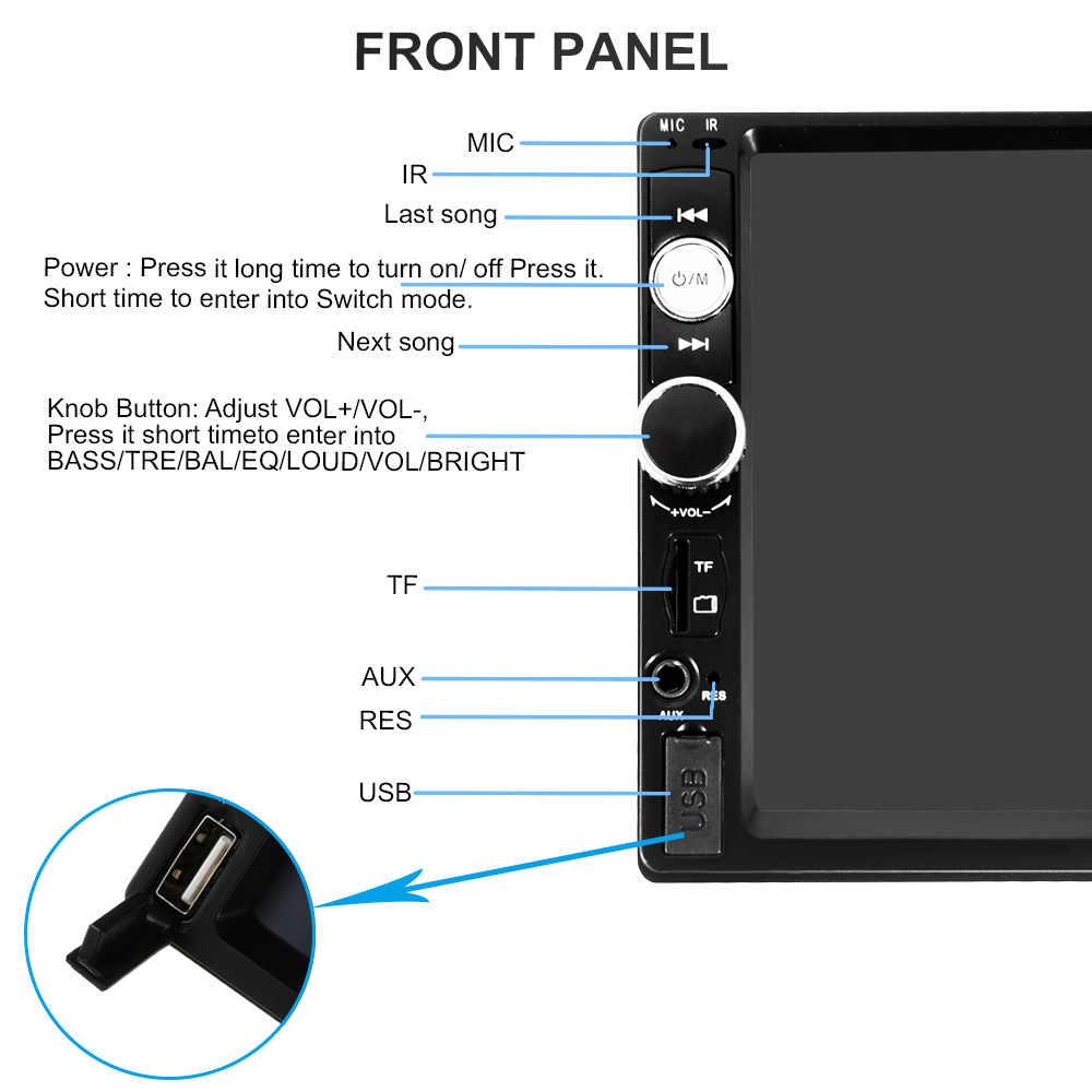 7 дюймов 2 Din HD Bluetooth USB/TF FM Aux вход автомобильное радио MP5 плеер мультимедийное радио развлечения с HD камерой заднего вида