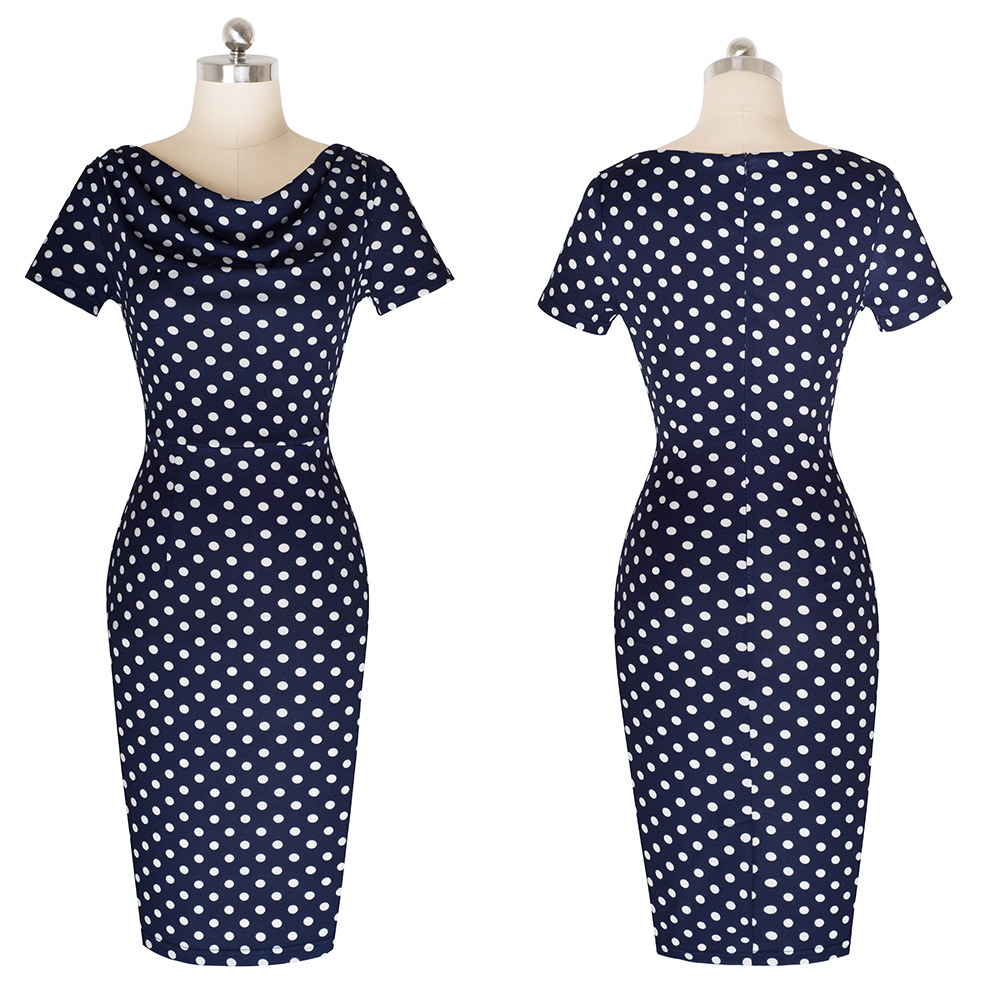 Nice-forever Women Vintage Wear to Work Elegant vestidos Business Party Bodycon Sheath Office Ruffle Female Dress B452 46