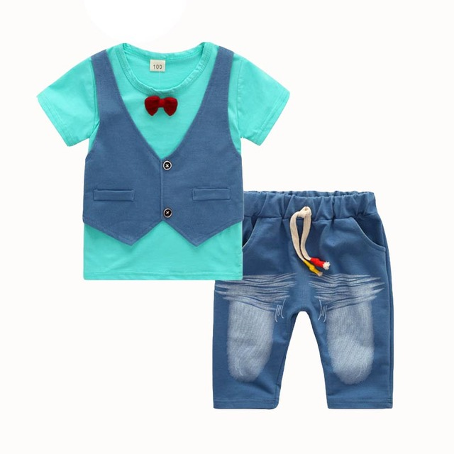 Summer wear children's clothing new boy fake two bow tie vest T-shirt + shorts two-piece set Boys Clothing Sets