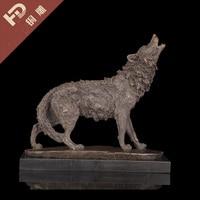 GOOD TOP COOL office home LIVING ROOM TOP ART Decor 41CM LARGE Wild animal wolf dog ART bronze statue sculpture Decoration