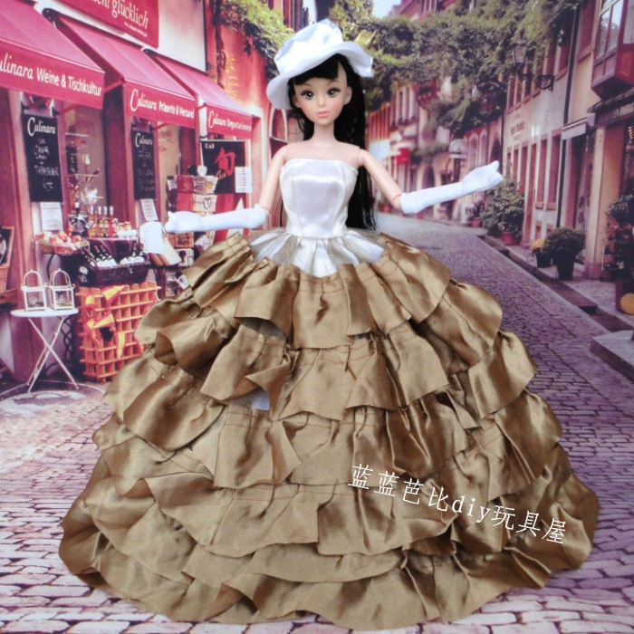 ... 5pcs party girl multilayer cake skirt dream wedding Stylish Design toy  child girl toys doll accessories ...