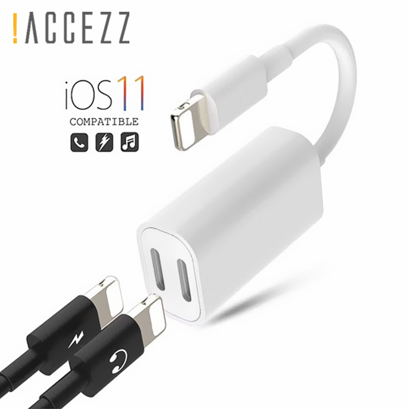 !ACCEZZ Double Charging Lighting Adapter For Iphone Audio For IPhone X 7 8 Plus IOS Splitter Earphone 2 In 1 Aux Cable Converter