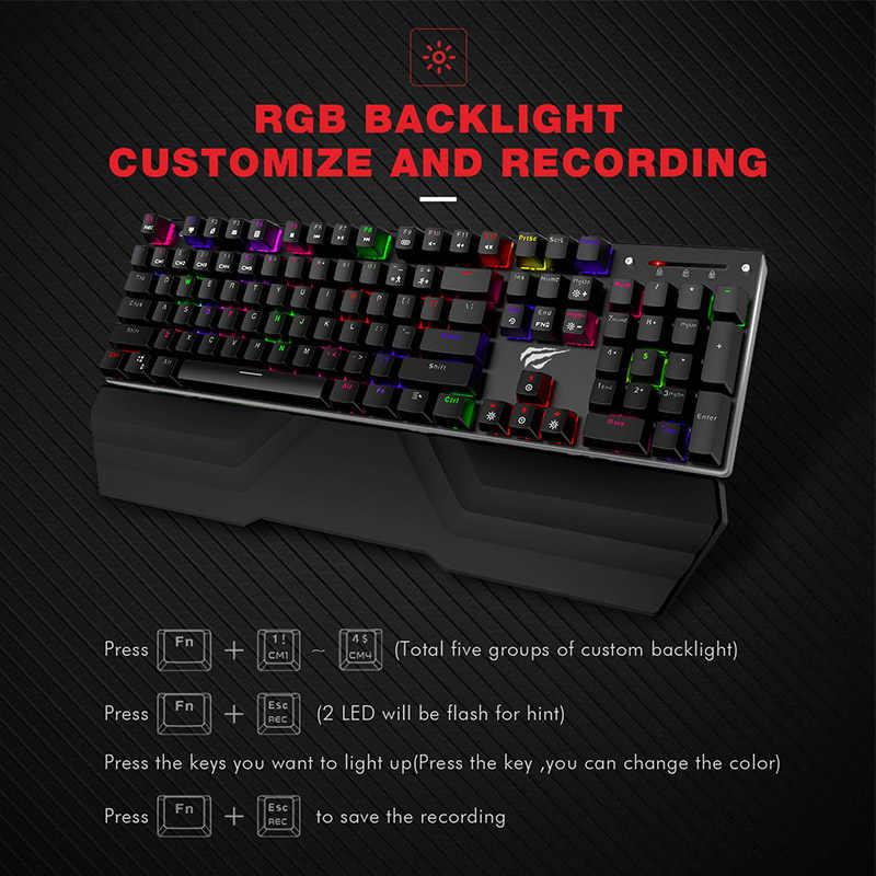 Havit Mekanik Keyboard 87/104 Kunci Biru atau Red Switch Gaming Keyboard untuk Tablet Desktop Rusia Kami Stiker