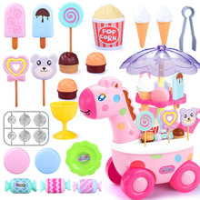 Simulation Ice Cream Car Light Music Candy  Children Pretend Play  Toys lighting Mini Push Trolley Toy Early Education Toys 16pcs ice cream stack up play tower educational toys kids cute simulation food toy children ice cream pretend play