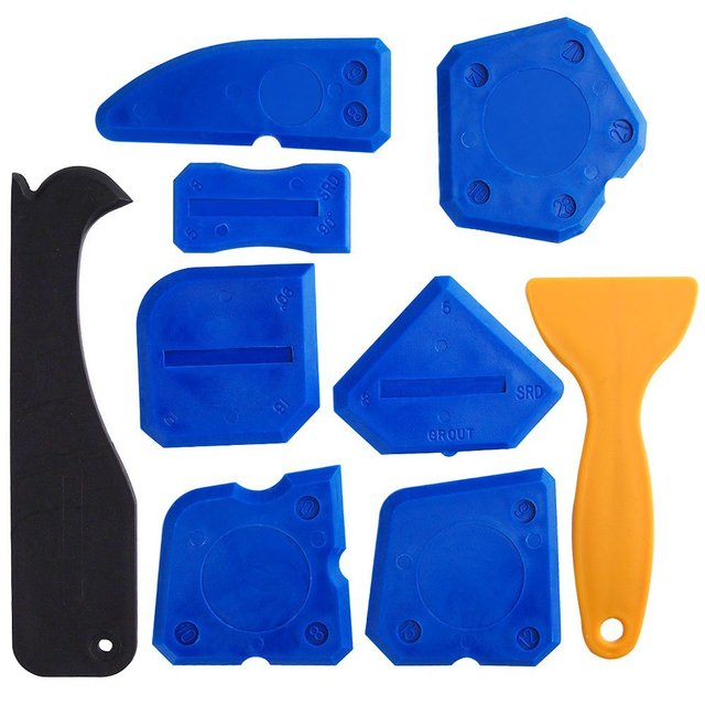 Free Shipping 9 Pieces Sealant Tools Caulking Kit Silicone Remover Sealing Tool for Bathroom Kitchen and Frames Sealant Seals