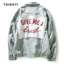 Tsingyi Patch Designs Embroidery Destroy Wash White Women Men Denim Jacket Turn-down Collar Long Sleeve Men Bomber Jeans Jacket все цены