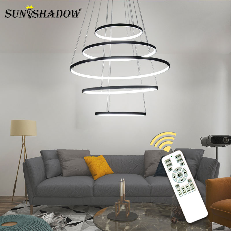 Image 4 - Modern Led Chandelier 6Rings Circle Ceiling mounted LED Chandelier Lighting For Living room Dining room Kitchen Black&White&Gold-in Chandeliers from Lights & Lighting