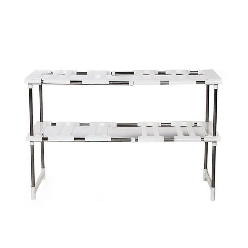 Stainless Steel Kitchen Sink Shelf Retractable Tube Floor Cabinet Double Storage Shelf Bathroom Bedroom Collect Rack