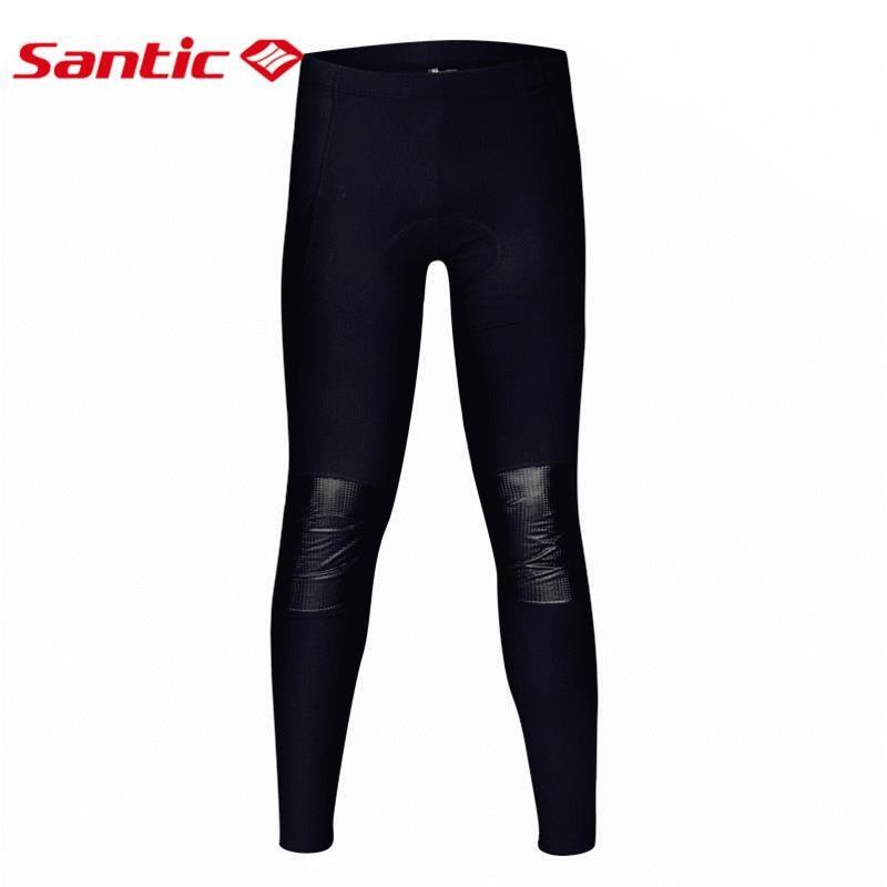 Santic Winter Men Cycling Pants Padded Black Thermal Mtb Leggings Long Compression Pants Downhill Bicycle Trouser Bike Tights