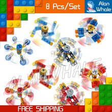 8pcs/lot Fidget Finger Spinner Hand Colorful Building Blocks Autism Adult Anti Gifts Relieve Stress Toys Compatible with Lego(China)