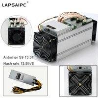 Lapsaipc Bitcoin AntMiner S9 13 5T Machine Miner ASIC BTC Bitmain Mining Machine With Power Supply