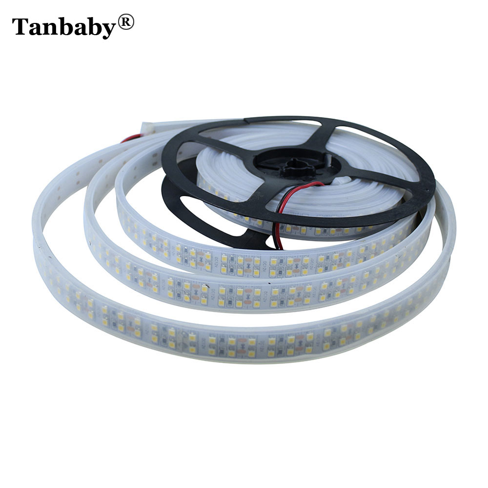Tanbaby 5M 240led/M 3528 Led strip Double Row IP66 Waterproof  flexible ribbon DC12V Indoor outdoor led decoration White/WW auxmart triple row led chips 12 led