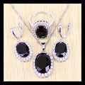 Reginababy Marvelous Silver color Black created Sapphire Jewelry Set For Women with 925 logo Crystal Rings/Earrings/Necklace