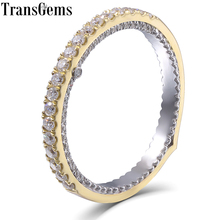 Transgems 14K White and Yellow Gold Moissanite Eternity Engagegement Wedding Band for Women Stackale Type