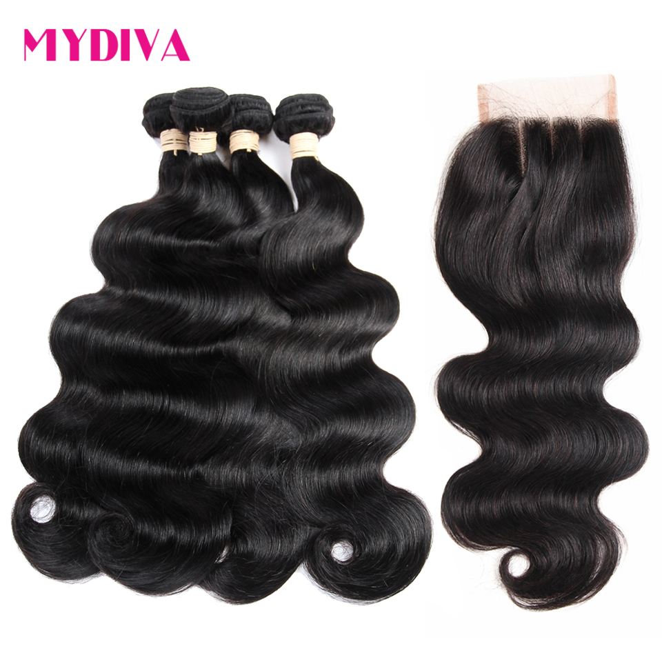 Human Hair Bundles With Closure Free Part Body Wave Brazilian Hair Weave 4 Bundles With Lace Closure Non Remy Hair Extensions