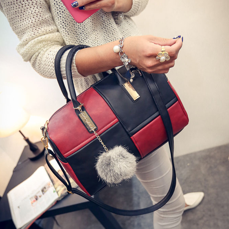 New Brand Handbag Women Casual Tote Bags Large PU Leather Crossbody Shoulder Meaaenger Bags With Fur Ball Stitching Handbags