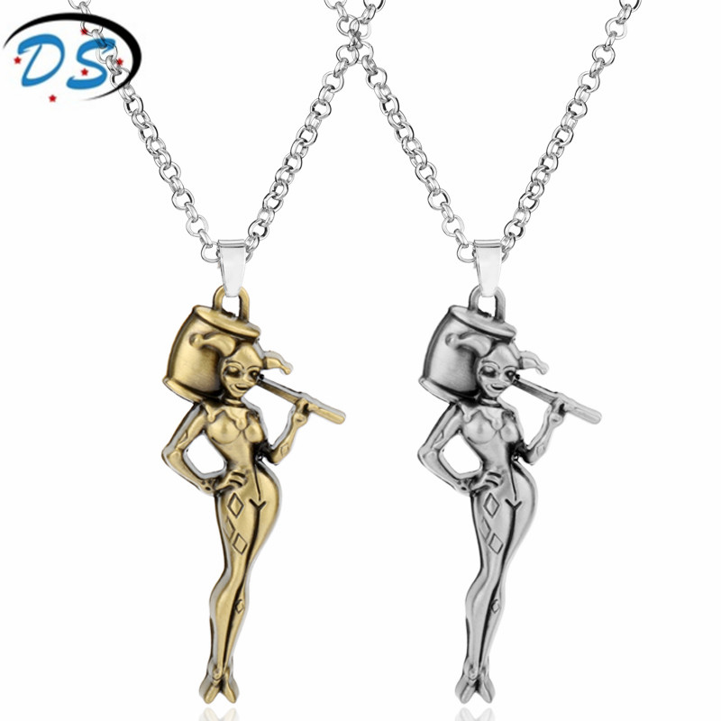 Suicide Squad Movie Jewelry Harley Quinn Figure Pendant Necklace Women Girls Choker Necklace Link Chain Collier