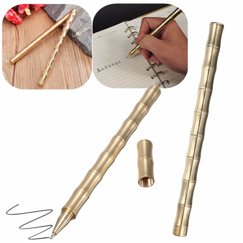 Creative Bamboo Model Brass Handmade Pen Pure Copper Gel Pen Kawaii Office Supplies 5pcs lot pure copper broken groove memory mos radiator fin raspberry pi chip notebook radiator 14 14 4 0mm copper heatsink