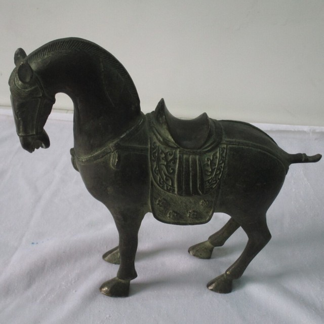 A Pair 2pc Rare Chinese Old Bronze Carved Tang Dynasty Horse Sculpture