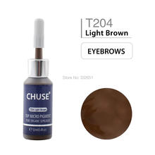 CHUSE Microblading Micro Pigment Permanent Makeup Tattoo Ink T204 Light Brown Cosmetic Color Passed SGS,DermaTest 12ml(0.