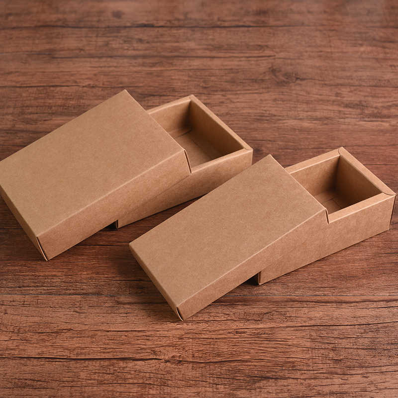 10pcs Retro Brown Kraft Paper Box Diy Craft Gift Boxes For Socks Towel Silk Scarves Accessory Gift Packaging