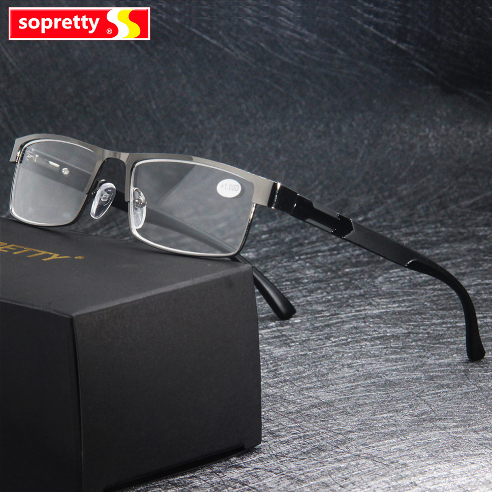 MEN Titanium Alloy Reading <font><b>Glasses</b></font> , Presbyopia Non Spherical 12 Layer Coated Eyeglasses (+<font><b>1.0</b></font> +1.5 +2.0 +2.5 +3.0 +3.5+4.0 ) image