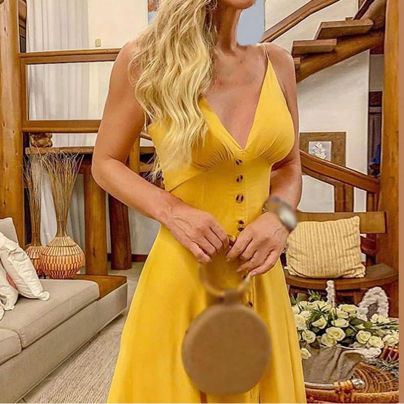 Женское желтое платье для вечеринки с глубоким v-образным вырезом без рукавов на пуговицах, однотонное летнее женское деловое офисное пляжное длинное платье