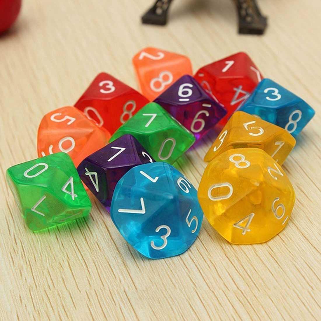 10-taglia D10 Dieci Faccia Gemma Dice Die per RPG Dungeons & Dragons Bordo di Giochi Da Tavolo (7 colori)
