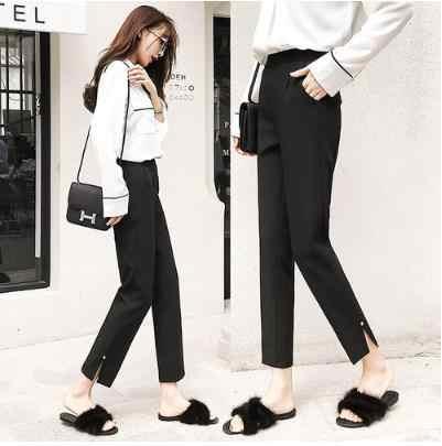 OL стиль белые женские брюки формальные пояса карандаш брюки с высокой талией Элегантные рабочие брюки женские повседневные pantalon femme 2019 LJ450