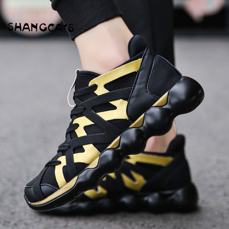 Hand-woven Mens Shoes Trendly 2018 Autumn Shoes For Men Fashion Sneakers Male Breathable Casual Shoes Men Red Bottom Gold Shoes
