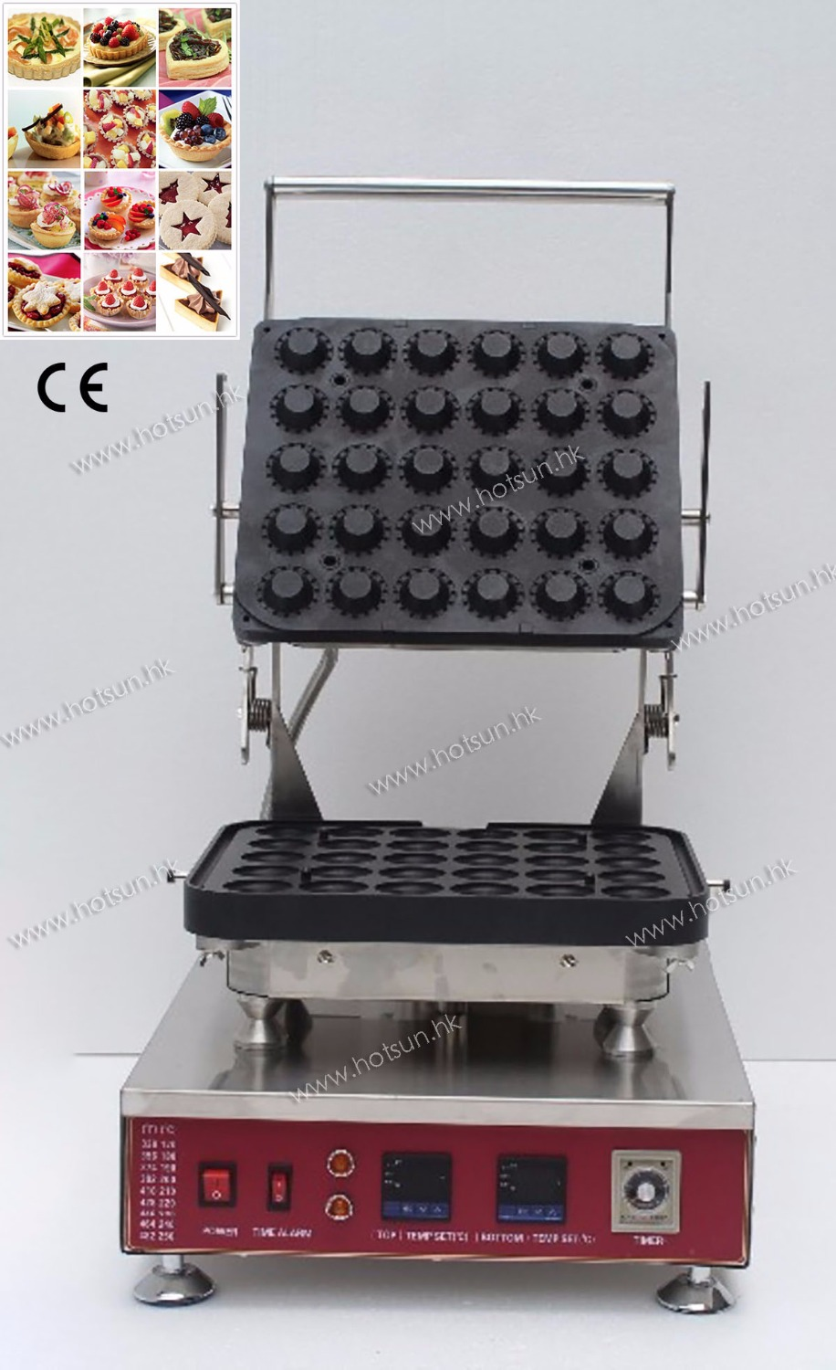 30pcs Professional Non-stick 110V 220V Electric Tarlet Ice Cream Waffl Bowl Maker Machine with Removable Plate