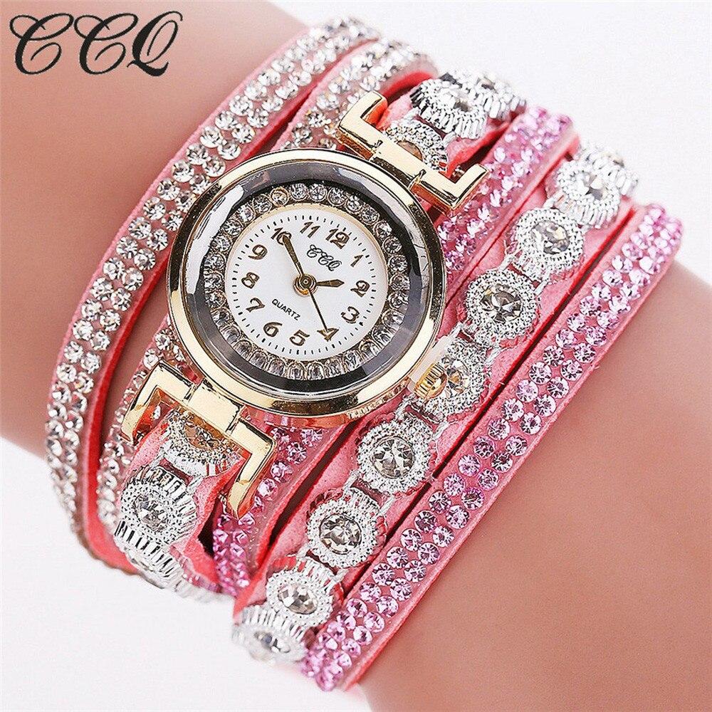 2c40a155375 CCQ Horloge Dames Quartzo Pulseira de Strass Relógios Das Mulheres ...