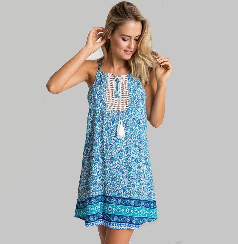 Новый 2016 мода лето о-образным шеи без рукавов печать цветочные кисточкой Vestidos женщины мини сексуальная спинки спагетти ремень платье Большой размер