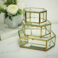 European Style Glass Display Box Preserved Fresh Flower Case Candy Bar Decoration Craft Cupcake Box Brass