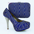 New design and hot-selling italy matching shoe and bag set with full shinning stones royalblue 1308-L66