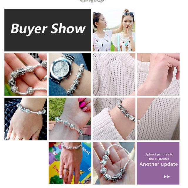 Fashion Women Bracelet Silver Color Crystal Bead Charm Bracelet For Women Christmas Jewelry Original Bracelets Gift