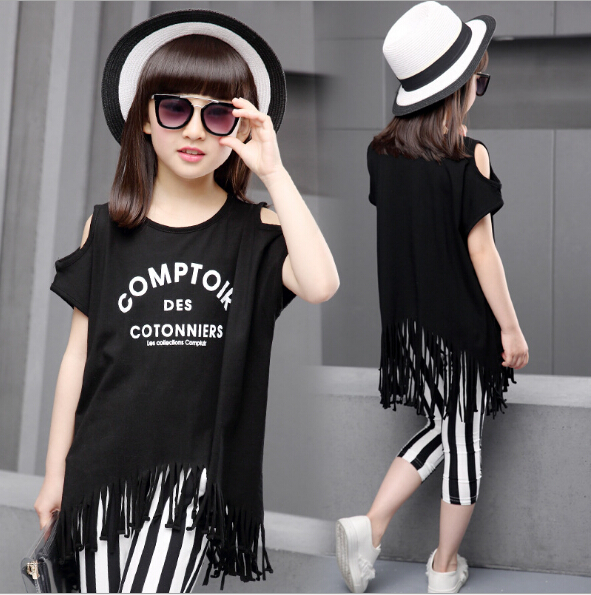 girls outfits kids summer clothes fringe tassel t-shirt +striped pants fashion Children set teenager 5-12 years old clothing 2015 autumn girls clothes fashion punk pu leather coat jacket shirt pants 3pcs children clothing set 4 15 years old kids clothes page 5