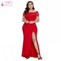 TANYA BRIDAL Red Black 2019 Simple Big Size Evening Dress Off the Shoulder High Split Floor Length Wedding Guest Dresses JQ462