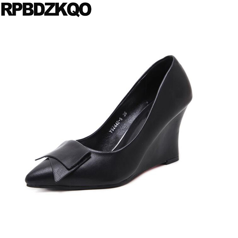 Wedge 2017 Bow Pointed Toe Medium Cheap 3 Inch Office Shoes Ladies Women Work Size 33 Black Pumps 4 34 Autumn New Chinese Spring цена и фото