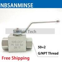 NBSANMINSE Hydraulic High Pressure Ball Valve 31.5Mpa KHB G / NPT 2 Manual Valve Industry Valve