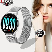 LIGE Smart Bracelet Women Silver strap Fitness Watch Blood Pressure Heart Rate Monitor Pedometer Smart Watch Men For Android iOS недорого