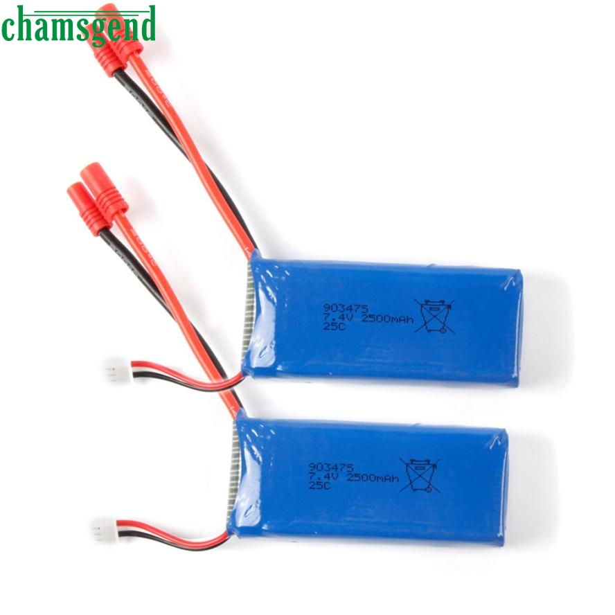 CHAMSGEND 2pcs 7.4V 2500mAh 25C Upgraded Battery For X8C X8W X8G RC Drone Quadcopter may 24 P30