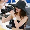 Хорошая Сделка 2015 Cap Женщины Широкий Большой Брим Floppy Сложите Летний Черный Пляж Вс Соломы Пляж Hat 1 шт.