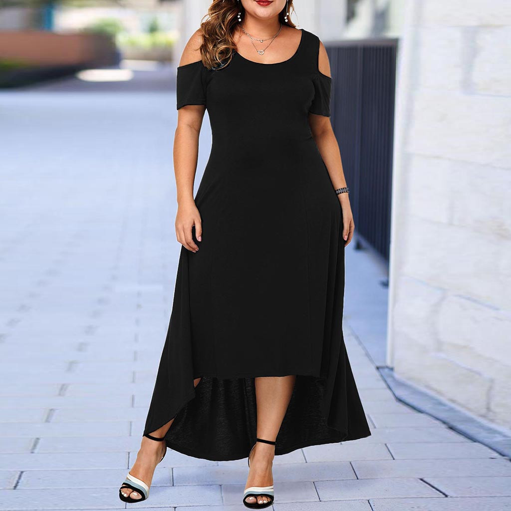 Maxi Dress Women's Casual Fashion Elegant L-5XL Plus Size O-Neck Solid Color Off-Shoulder Strapless Short Sleeve Summer Dress Z4