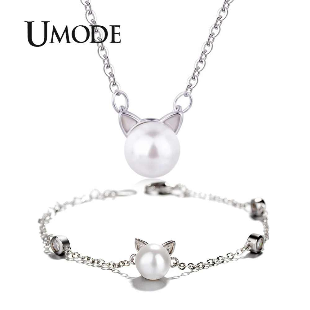 UMODE Cute White Pearl Cat Ear White Gold Color Jewelry Set for Women Necklace and Bracelet Set Link Chain Pearl Jewelry AUS0050