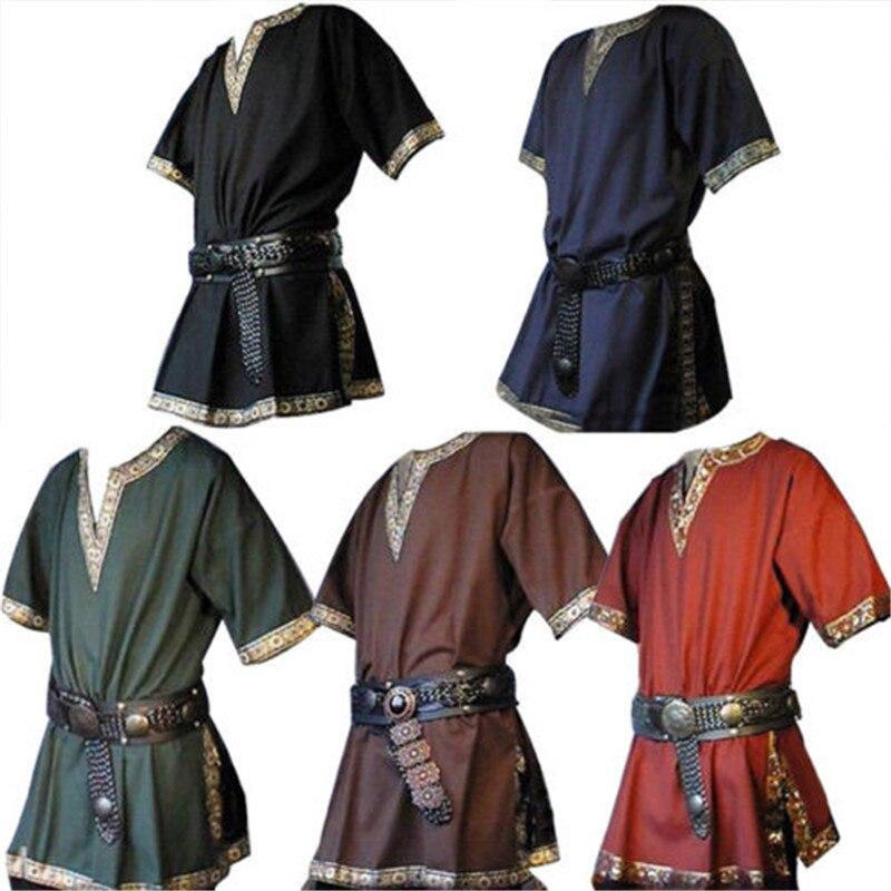 Drop Shipping Medieval Renaissance men Tunic Viking Saxon short sleeve shirt Halloween Cosplay M-4XL