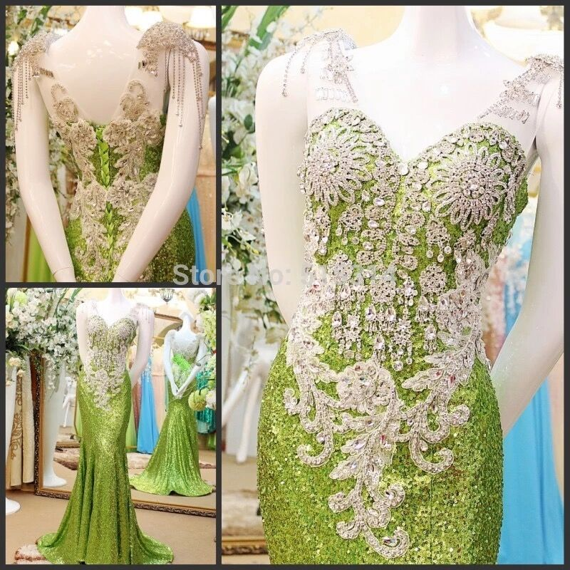 Custom Made Mermaid Sequins Tulle Crystal Beaded Diamond Sexy   Evening     Dresses   Long Formal   Evening   Gowns Prom Gowns CH49M