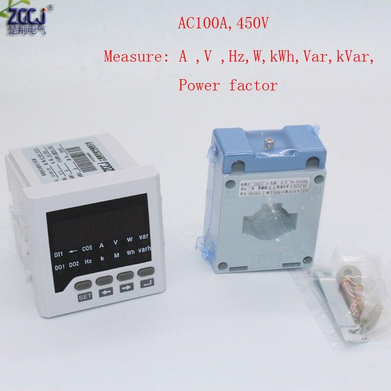 CJ-D61-2O 100A 450 V AC 1-phase multifonction panneau électrique compteur relais sortie A V Hz kWh W Var kVar mètre avec transformateur